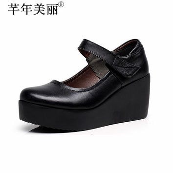 Women's Shoes Wedge Heels Ankle Mary Janes Shallow Office Lady Court Shoes Platform Shoes Black WP050-2