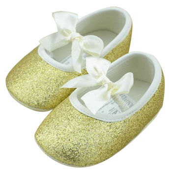 Sweet Toddler Baby Girls Shine Antislip Bowknot Soft Sole Ribbon Crib Shoes NW