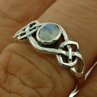 Celtic Silver Ring size 7 US, w Rainbow Moon Stone, 925 Sterling Silver, r264