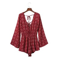 CA168 Fashion Hollow Out Back Print Red Fall Outfit V Neck Jumpsuit Shorts Women Stylish Flare Full Sleeve Elegant Jumpsuits