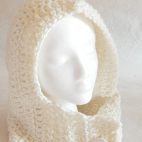 White hooded Cowl Scarf hand knit with a large attached vintage button