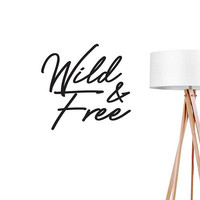 Wild & Free Wall Decal, Nursery Sticker, Typography Wall Sticker, Hippie Decal, Boho Desert, Typography Decal, Wild Wall Decal, Office Decor