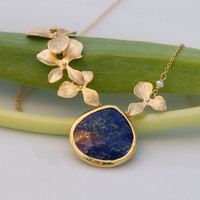 Large Lapis Drop Bezel Necklace - 16k Gold Orchid Flowers and 14k Gold Filled Chain- September Birthstone