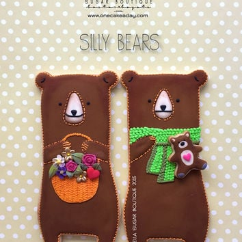 Large Bear Decorated Cookies - Lovely Bears Decorated Cookies - Big Bear custom cookies