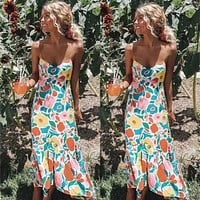New Women Summer Chic Long Maxi Dress Printed Loose Fashion Contrast Color Backless Beach Dress Sundress