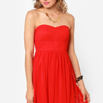 Celebrate-y Style Strapless Red Dress