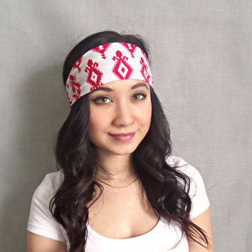Tribal Print Headband Pink Yoga Headband Aztec Print Headwrap Hippie Headband Bohemian Hair Accessories