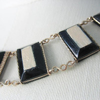Lucite Link Necklace, Black, Wrapped, Gold Filled, Beveled Black Lucite, Painted, Metallic Paint, 1940s