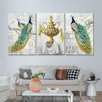 3 Panel Birds Two Peacocks Antique Wall Art Bird Picture Print Decor Living Room
