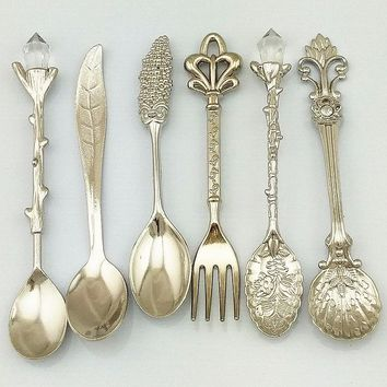 6pcs Vintage Royal Style Dinnerwa Set Carved Mini Coffee Fork Cutlery Mini Dessert Ice cream Kitchen Dining Bar Tool