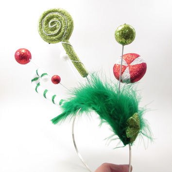 Red and Green Candycane Forest Ugly Christmas Sweater Party Headband - Wacky Tacky Christmas Whoville Inspired Fascinator - crazy elf hat
