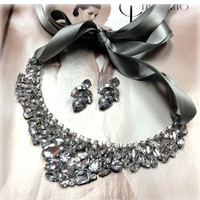 Bridesmaid jewelry Set , bridal necklace, vintage inspired statement, Silver ribbon Crystal bib necklace earrings, wedding jewelry