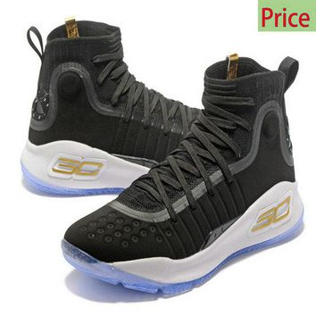 Cheap shoes Mens Under Armour Curry 4 Mid Basketball Shoes Core Black White Gold sneaker
