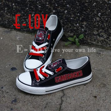 E-LOV College Custom-made Black Shoes South Carolina Gamecocks Canvas Shoes Color Lace Flat Shoes Drop Shipping