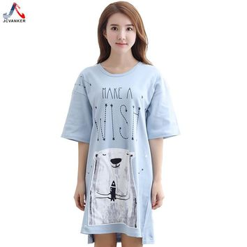 JCVANKER Summer Women Nightgowns White Bear Short Cotton Sleepwear Nightwear Home Dress Domestic Sleep Night Shirts Nightdress