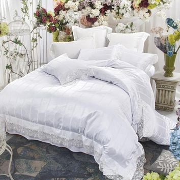 Svetanya White Lace Princess Bedding Set Queen King Size Bedclothes Silk Cotton Blend Fabric Bedlinen