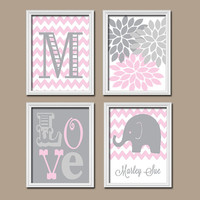 Girl Elephant Nursery Wall Art Pink Gray Nursery Artwork Monogram Name Chevron Flower LOVE Print Set of 4 Prints  Baby Decor