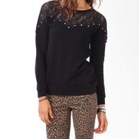 Studded Lace Sweatshirt
