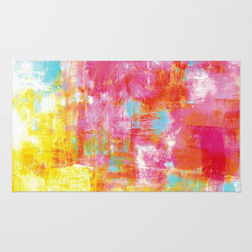 OFF THE GRID 2 Colorful Pink Pastel Neon Abstract Watercolor Acrylic Textural Art Painting Rainbow Area & Throw Rug by EbiEmporium