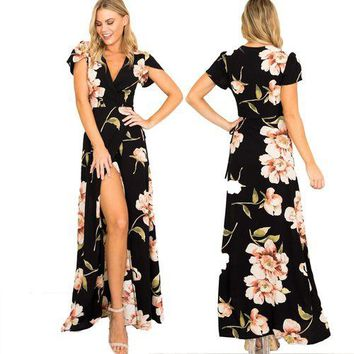 Summer Fashion Women Short Sleeve Long Dress V Neck Boho Floral Printed Party Prom Gown Beach Maxi Dress