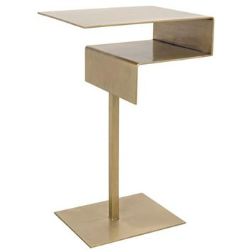 Aurore Side Table, Antique Brass Finish