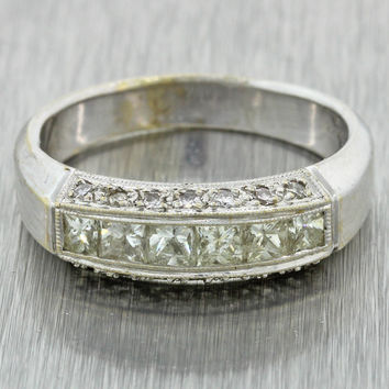 Vintage Estate Men's 18k Solid White Gold 1.22ctw Diamond Wedding Band Ring