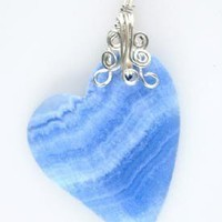 Blue Venis Jasper Gemstone Pendant Wire Wrapped GEMP543 | GemsbyLes - Jewelry on ArtFire