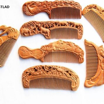 1Pc Wooden Comb Natural Peach Wood Carving Antistatic Massage Health Care Combs High Quality Hair Brush Combs