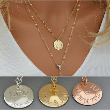 Personalized Mother Necklace Disc / Mom Necklace / Gold Disc Necklace / New Mom Necklace / Gift For Her / Gift For Wife / Gift For Mom