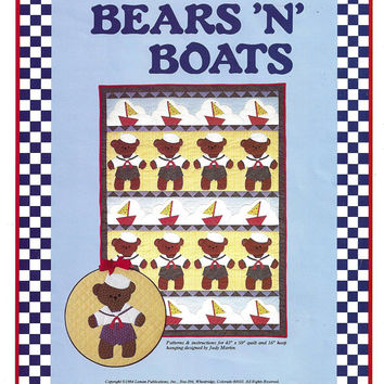 Bears 'N Boats Quilt Pattern & Hoop Hanging from Leman Publications, From 1984, UNCUT, Basic Quilt Lesson, Vintage Pattern, Home Quilting