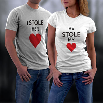 Couples Shirts,I Stole Her Heart, He Stole my Heart Matching Couple Shirts, Him and Her Shirt