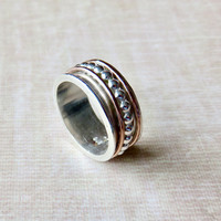 Wedding Spinner Ring - Silver Spinner Ring - Eternity Ring - Gold and Silver Ring - Stacking Ring