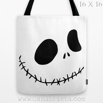 Jack Skellington Nightmare Before Christmas Graphic Print Tote Bag Movie Carryall Trick or Treat Halloween Black White Fun Autumn Fall Face
