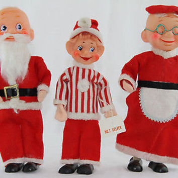 "Rare 1950's Christmas Decorations 10""Pose-able Felt Noel Santa Mrs. Claus & Elf"