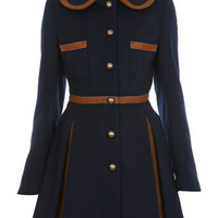 Navy Contrast Princess Coat - Coats  Jackets  - Clothing  - Miss Selfridge