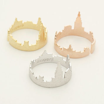 New York city ring / Cityscape ring, New York skyline ring, New Yorker ring, NYC ring, nightline ring, adjustable ring / R136