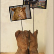 Country Cute Cowboy Boot Stand for Calf and Horse Photographs