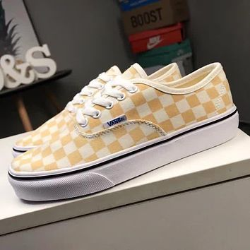 Vans Old Skool Trending Women Men Casual Yellow White Checkerboard Pattern Canvas Flats Sneakers Sport Shoes I-CQ-YD