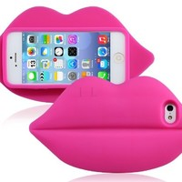 Sky Buddy 3D Lips Design Silicone Protective Case for iPhone 5S/5 (Purple)