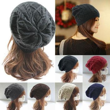 ICIKJG2 Women New Design Caps Twist Pattern Women Winter Hat Knitted Sweater Fashion Hats 6 colors  Y1