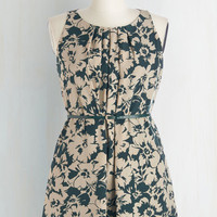 Mid-length Sleeveless A-line Great Wavelengths Dress in Green Floral