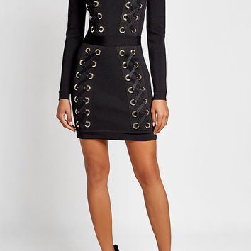 Mini Dress with Lace-Up Detail - Balmain | WOMEN | US STYLEBOP.COM
