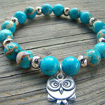 Blue Impression Jasper Stretch Bracelet, Gemstone and Silver Stacking Bracelet with Silver Owl Charm, Beaded Jewelry