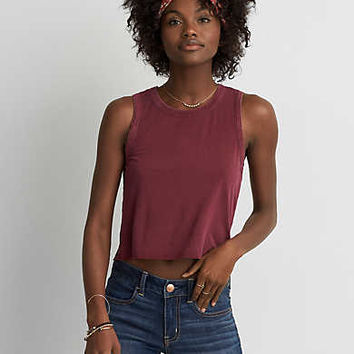 AEO Soft & Sexy Swing Crop Tank , Burgundy