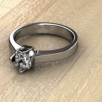wedding ring - solitaire ring  - tulip ring - tulip solitaire ring - birthday ring - gift idea - christmas - for sale -