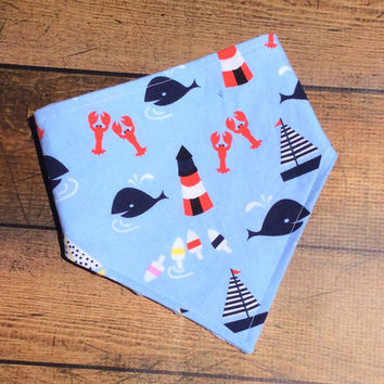 baby boy bandana bib, nautical baby bib, sailboat baby drool bib, nautical baby shower gift, nautical baby clothes, baby boy bibdana, drool