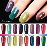 Paraness False Nails With Glue Colorful Neon UV Nail Gel Soak Off UV Color Gel Nail Polish Lucky Color Nail Art