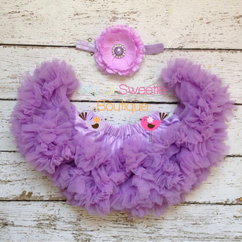 NEW light purple Premium extra fluffy pettiskirt and headband set, cake smash, newborn photos, 6 month outfit, 1st birthday outfit
