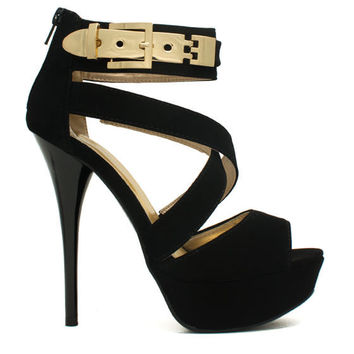 (anm) Faux Nubuck Buckle Clasp Heels