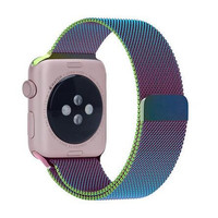 Apple Watch Colorful Milanese Magnet Band   Closure Loop Stainless Steel Strap Replacement Wrist Band for iWatch 38mm/42mm